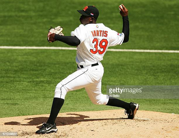 Shairon Martis of The Netherlands pitches against Panama during their game at the World Baseball Classic at Hiram Bithorn Stadium on March 10, 2006...