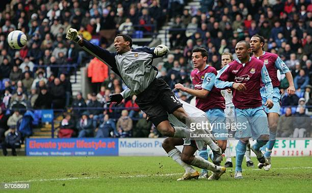 Shaka Hislop of West Ham punches clear during the Barclays Premiership match between Bolton Wanderers and West Ham United at The Reebok Stadium on...