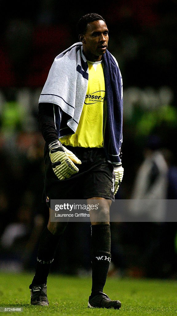 Shaka Hislop of West Ham United trudges off after the Barclays Premiership match between Manchester United and West Ham United at Old Trafford on March 29, 2006 in Manchester, England.