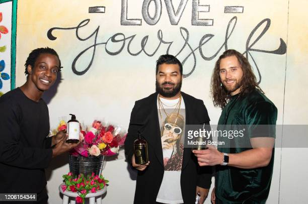 Shaka Smith Adrian Dev and Sam Elliott enjoy Tea3 Haircare by Treminios at TAP The Artists Project Giveback Day for Face Forward on February 13 2020...
