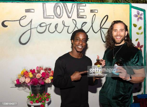 Shaka Smith and Sam Elliott enjoy Tea3 Haircare by Treminios at TAP The Artists Project Giveback Day for Face Forward on February 13 2020 in Los...