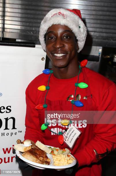 Shaka Smith attends Christmas Celebration On Skid Row at the Los Angeles Mission on December 23 2019 in Los Angeles California