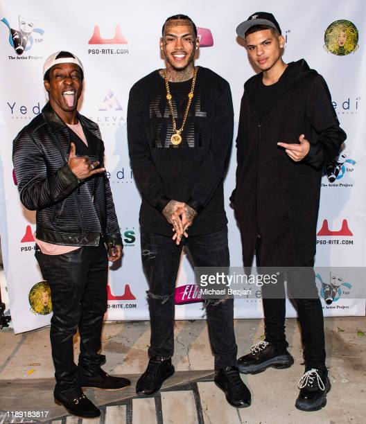 Shaka Smith Inkmonstarr and Micah Blanco attend the Project Save Our Surf Awareness Day at TAP The Artists Project on November 20 2019 in Los Angeles...