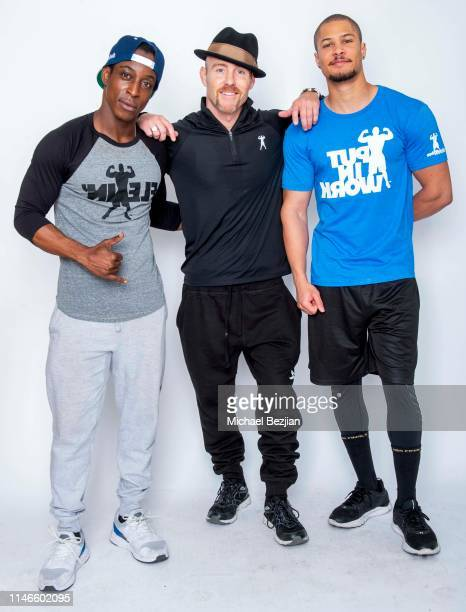 Shaka Smith Kevin Ray Orange and Najee DeTiege wear Antithesis Apparel gym clothes at Giveback at TAP The Artists Project on May 02 2019 in Los...