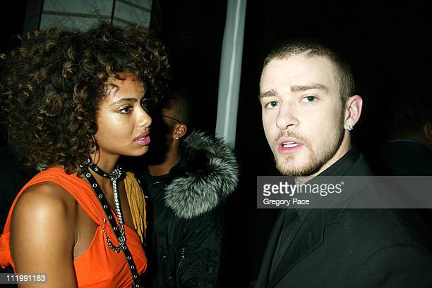 Shakara Ledard and Justin Timberlake during 2003 Clive Davis PreGRAMMY Party at The Regent Wall Street in New York NY United States