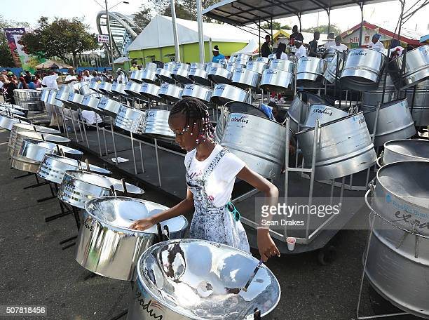 Shakayla Creece a member of Exocubs Steel Orchestra, practices on double tenor steel pans during the Junior Panorama competition at Queen's Park...