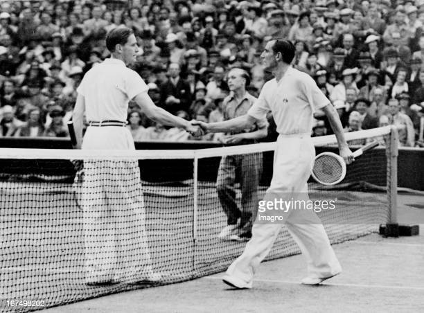 Shake hands between the British table tennis player and tennis player and fashion designer Fred Perry and the German tennis player Gottfried von...