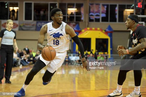 Shake Milton of the Delaware Blue Coats drives at the top of the key during an NBA GLeague game on December 29 2018 at Erie Insurance Arena in Erie...