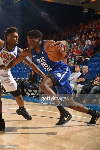 Shake Milton of the Delaware Blue Coats drives to the basket against the Westchester Knicks during an NBA GLeague game at the Bob Carpenter Center in...