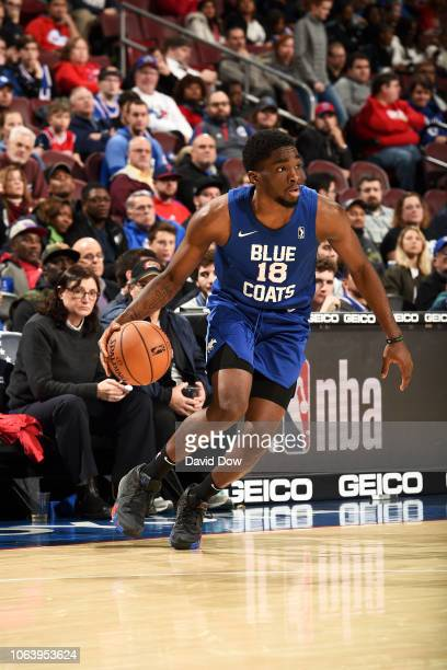 Shake Milton of the Delaware Blue Coats handles the ball against the Canton Charge on November 20 2018 at the Wells Fargo Center in Philadelphia...