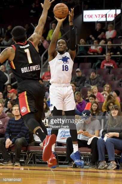 Shake Milton of the Delaware Blue Coats shoots a three point shot during an NBA GLeague game on December 29 2018 at Erie Insurance Arena in Erie PA...