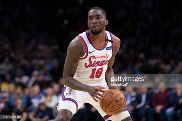 Shake Milton of the Philadelphia 76ers controls the ball against the Brooklyn Nets at the Wells Fargo Center on February 20 2020 in Philadelphia...
