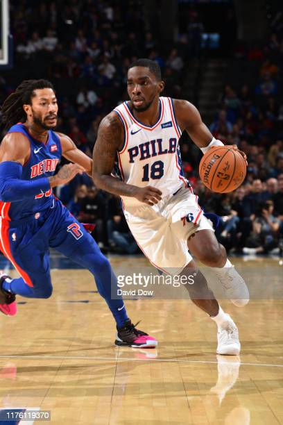 Shake Milton of the Philadelphia 76ers handles the ball against the Detroit Pistons during a preseason game on October 15 2019 at the Wells Fargo...