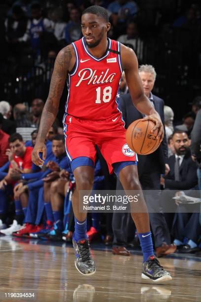 Shake Milton of the Philadelphia 76ers handles the ball against the Los Angeles Lakers on January 25 2020 at the Wells Fargo Center in Philadelphia...