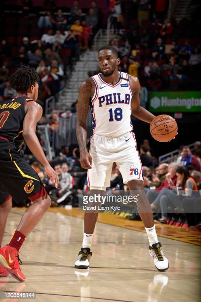 Shake Milton of the Philadelphia 76ers handles the ball against the Cleveland Cavaliers on February 26 2020 at Rocket Mortgage FieldHouse in...