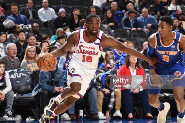Shake Milton of the Philadelphia 76ers handles the ball against the New York Knicks on February 27 2020 at the Wells Fargo Center in Philadelphia...