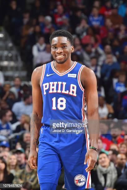 Shake Milton of the Philadelphia 76ers looks on against the Washington Wizards on January 8 2019 at the Wells Fargo Center in Philadelphia...