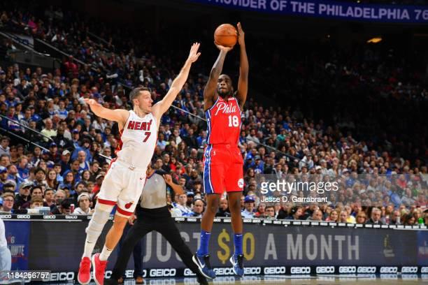 Shake Milton of the Philadelphia 76ers shoots the ball against the Miami Heat on November 23 2019 at the Wells Fargo Center in Philadelphia...