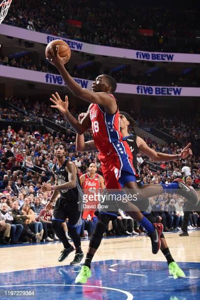 Shake Milton of the Philadelphia 76ers shoots the ball against the Golden State Warriors on January 28 2020 at the Wells Fargo Center in Philadelphia...
