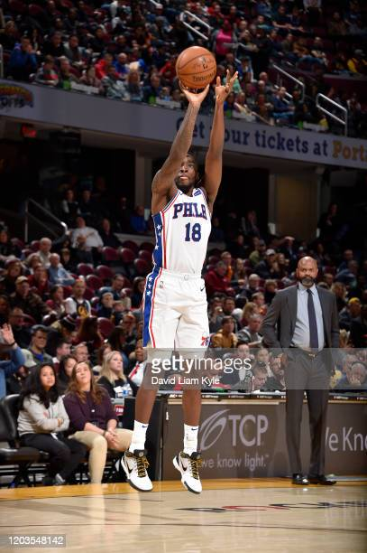 Shake Milton of the Philadelphia 76ers shoots the ball against the Cleveland Cavaliers on February 26 2020 at Rocket Mortgage FieldHouse in Cleveland...