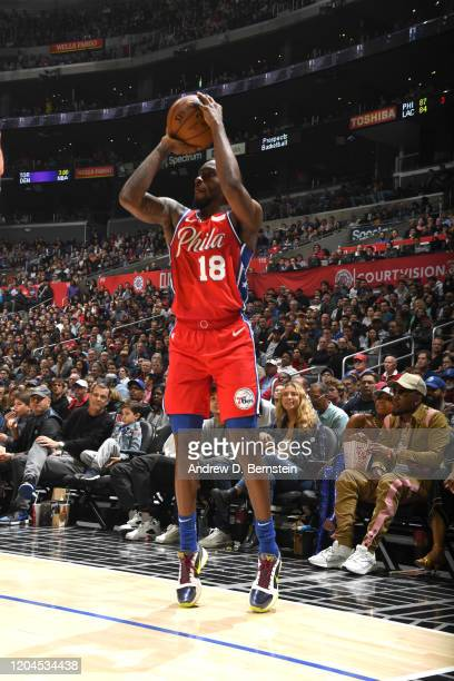 Shake Milton of the Philadelphia 76ers shoots the ball against the LA Clippers on March 1 2020 at STAPLES Center in Los Angeles California NOTE TO...
