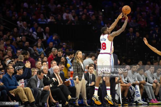 Shake Milton of the Philadelphia 76ers shoots the basketball during the first quarter of a game against the San Antonio Spurs at the Wells Fargo...