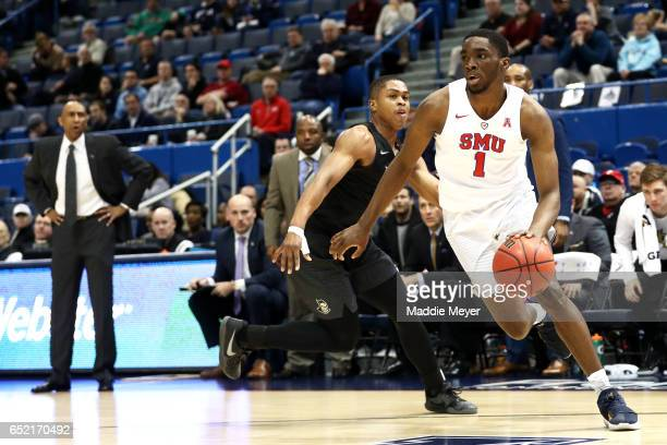 Shake Milton of the Southern Methodist Mustangs drives against the UCF Knights at the XL Center on March 11 2017 in Hartford Connecticut