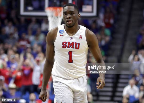 Shake Milton of the Southern Methodist Mustangs looks on in the first half against the USC Trojans during the first round of the 2017 NCAA Men's...