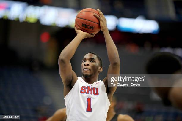 Shake Milton of the Southern Methodist Mustangs shoots a free throw during the UCF Knights V SMU Mustangs American Athletic Conference Semi Final...