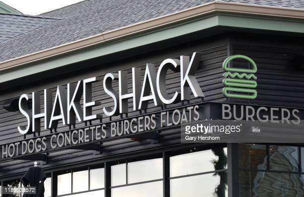 Shake Sack sign hangs in front of their restaurant at the Woodbury Common Premium Outlets shopping mall on November 17, 2019 in Central Valley, New...