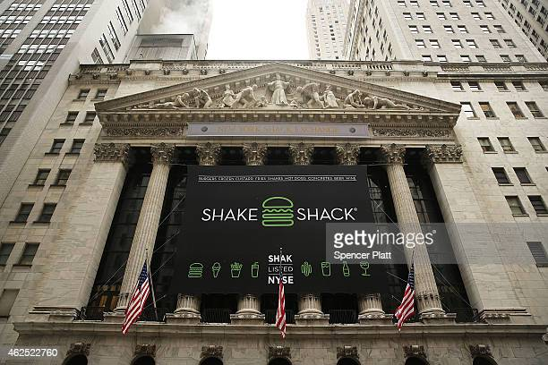 Shake Shack banner is viewed outside of the New York Stock Exchange during the burger company's IPO on January 30, 2015 in New York City. Hamburger...