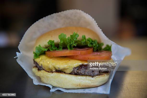 Shake Shack burger is displayed on August 18 2014 in Madison Square Park in New York City Shake Shack is allegedly considering going public and...