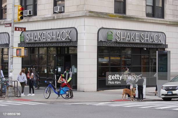 Shake Shack restaurant remains open for digital take-out orders during the coronavirus pandemic on April 14, 2020 in New York City. Shelter-In-Place...