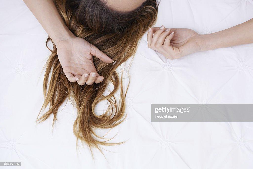Agite os sonhos de seus cabelos. : Foto de stock