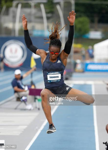 Sha'keela Saunders jumps to victory in the Womens Long Jump Final during day 3 of the 2018 USATF Outdoor Championships at Drake Stadium on June 23...