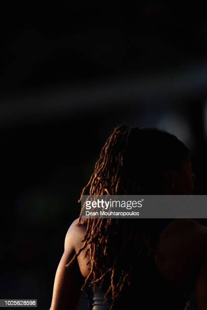 Shakeelah Saunders of USA competes in the Women's Long Jump during the IAAF Diamond League AG Memorial Van Damme at King Baudouin Stadium on August...