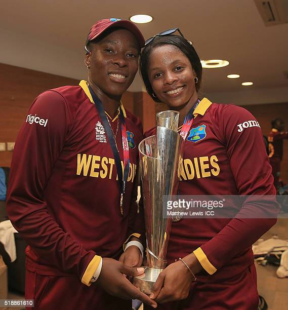 Shakera Selman of the West Indies and Merissa Aguilleira of the West Indies pictured with the Women's ICC World Twenty20 India 2016 trophy during the...