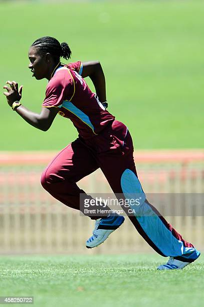 Shakera Selman of West Indies bowls during the women's International Twenty20 match between Australia and the West Indies at North Sydney Oval on...