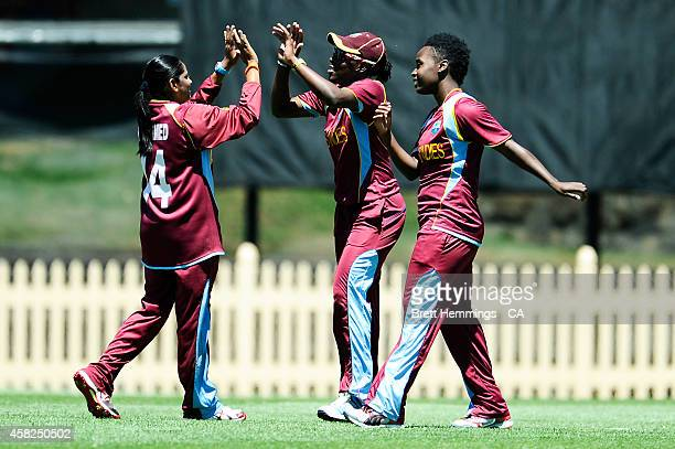 Shakera Selman of West Indies celebrates taking a catch to dismiss Jess Jonassen of Australia during the women's International Twenty20 match between...