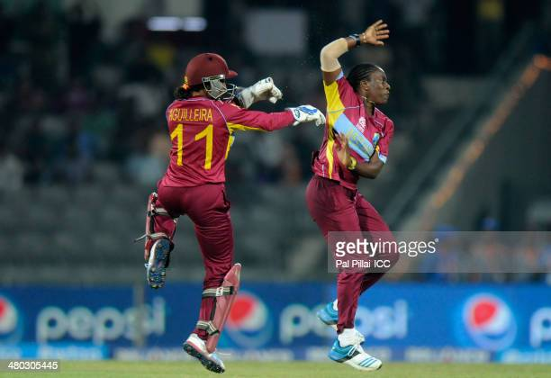 Shakera Selman of West Indies celebrates the wicket of Jodie Dibble of England during the ICC Women's world Twenty20 match between England Women and...