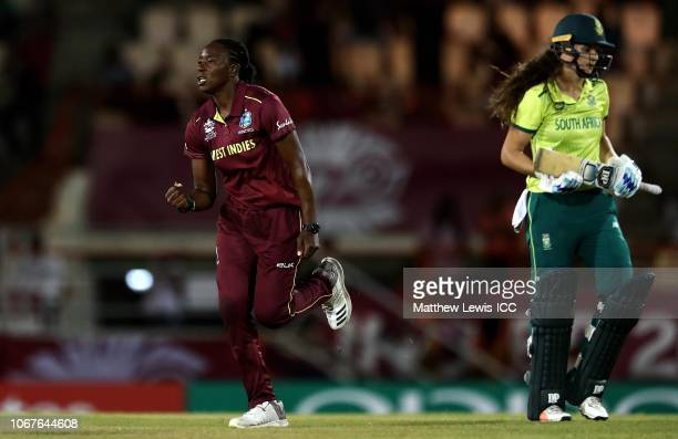 Shakera Selman of West Indies celebrates the wicket of Laura Wolvaardt of South Africa after she was caught by Chinelle Henry of West Indies during...