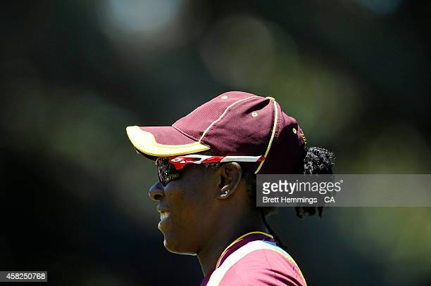 Shakera Selman of West Indies looks on during the women's International Twenty20 match between Australia and the West Indies at North Sydney Oval on...