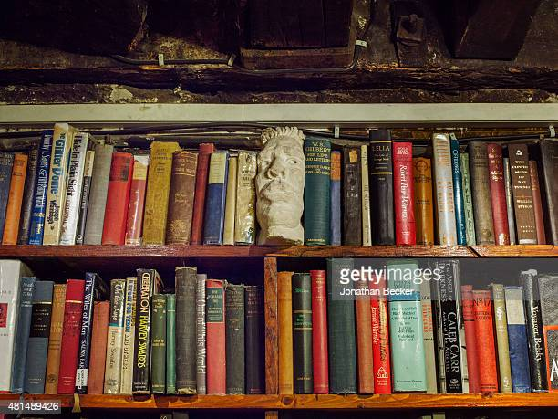 Shakespeare Company Bookstore is photographed for Vanity Fair Magazine on May 20 2014 in Paris France A bookend peeks out from one of the upstairs...