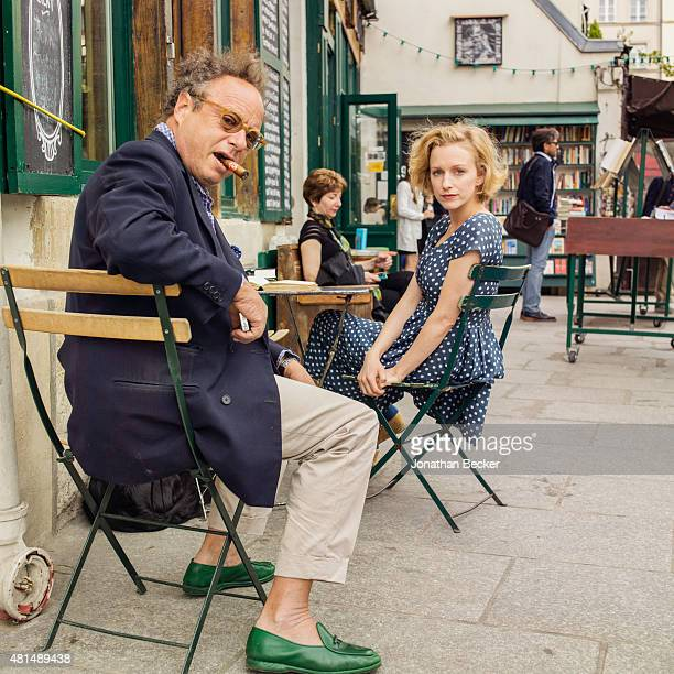 Shakespeare Company Bookstore owner Sylvia Whitman is photographed with photographer Jonathan Becker for Vanity Fair Magazine on May 20 2014 in Paris...