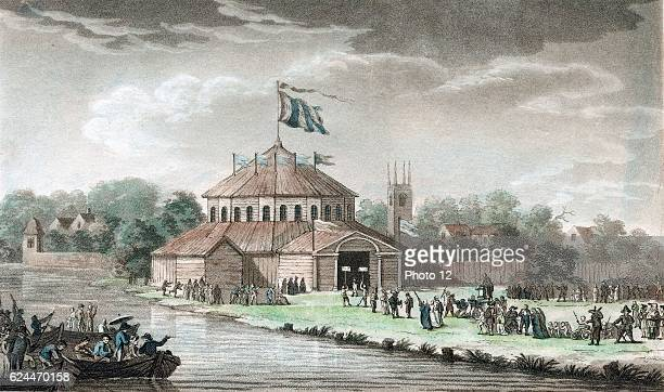 Shakespeare Jubilee StratforduponAvon 68 September 1769 organised by the great English actor David Garrick showing wooden pavilion erected by River...