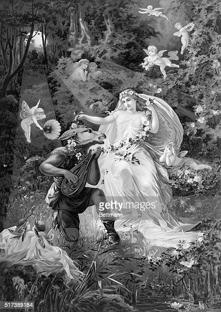 Shakespeare's A Midsummer Night's Dream Bottom and Titania Illustration by the German romantic artist Paul Thumann BPA