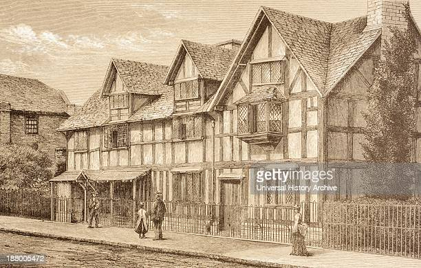 Shakespeare's Birthplace In StratfordUponAvon England From The Illustrated Library Shakspeare Published London 1890