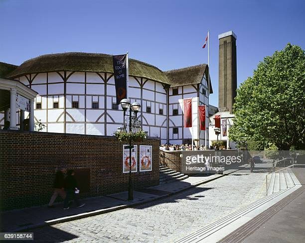 Shakespeare's Globe Theatre Bankside London c19902010 General view of the theatre with the chimney of Tate Modern beyond Built in 1599 by...