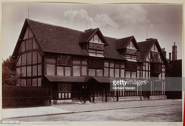 Shakespeare's house in Stratford on Avon from the west The house is made of thick wooden beams and plaster Ca 1890