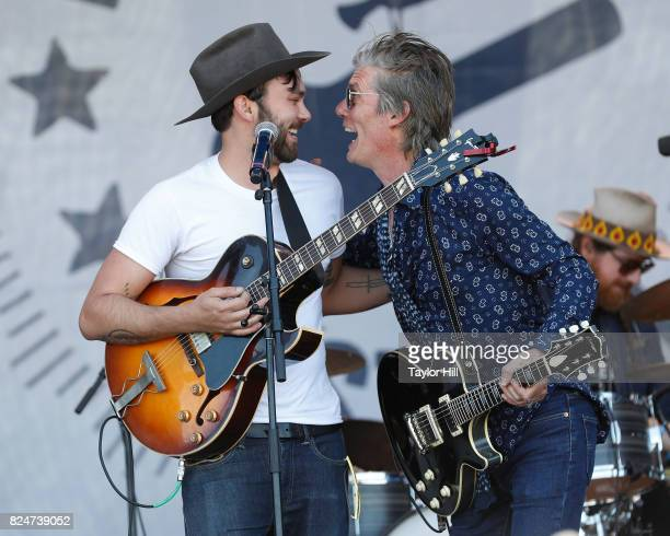 Shakey Graves and Charlie Sexton perform during the 2017 Newport Folk Festival at Fort Adams State Park on July 30 2017 in Newport Rhode Island